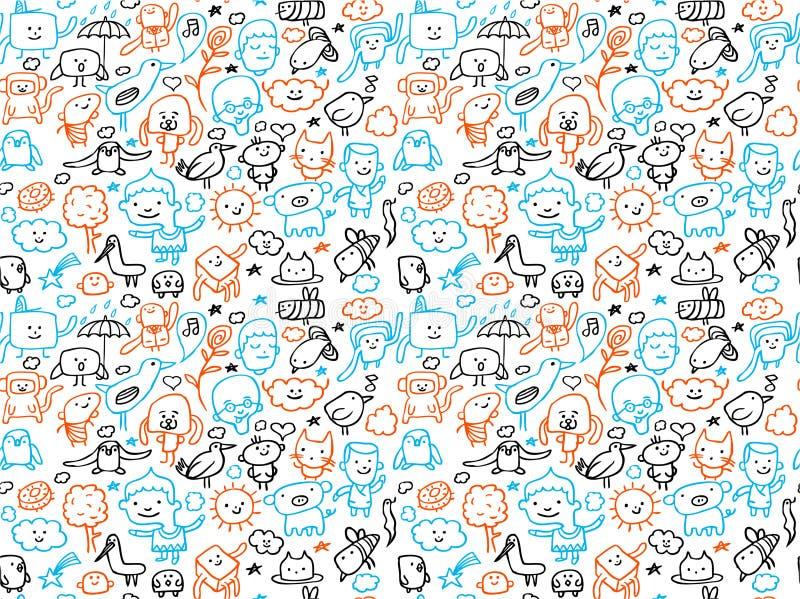 Teste padrão sem emenda dos doodles ilustração royalty free