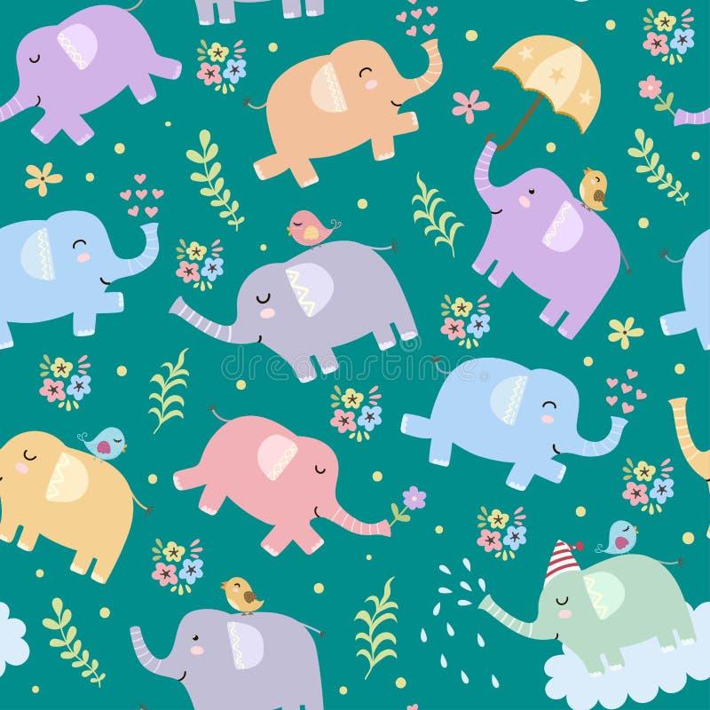 Teste padrão sem emenda dos elefantes ilustração royalty free