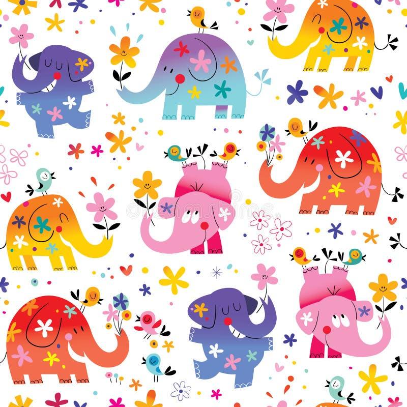 Teste padrão sem emenda dos elefantes bonitos ilustração do vetor