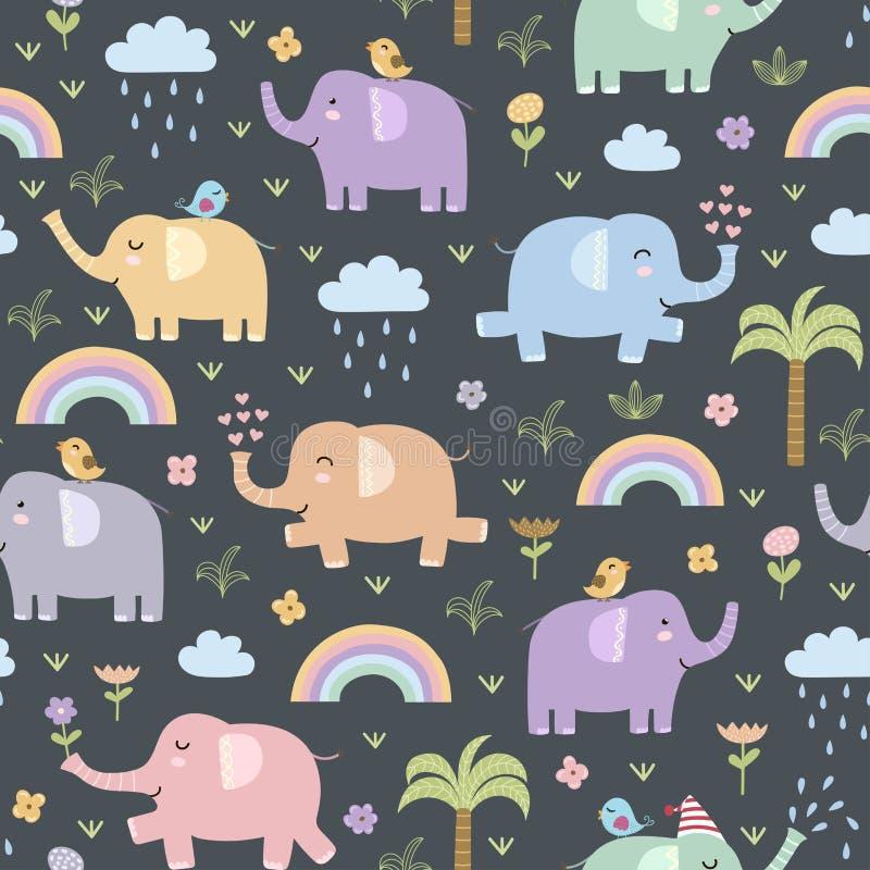 Teste padrão sem emenda dos elefantes engraçados ilustração royalty free