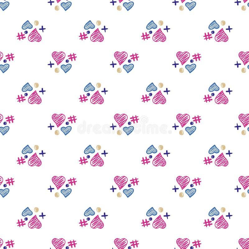 Teste padrão sem emenda dos elementos bonitos dos corações 14 de fevereiro wallpaper fotos de stock royalty free