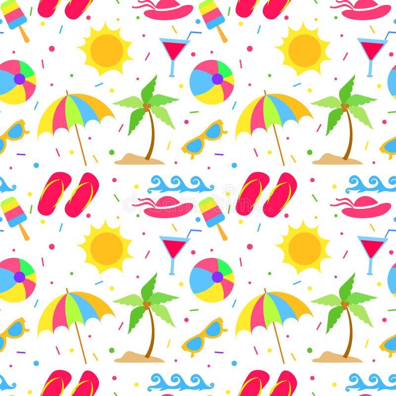 Teste padrão sem emenda dos elementos do verão ilustração royalty free