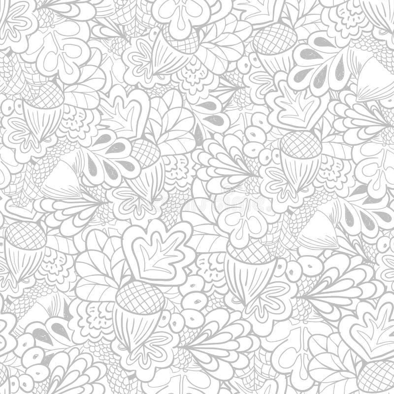 Teste padrão sem emenda dos elementos preto e branco do carvalho do esboço ilustração royalty free