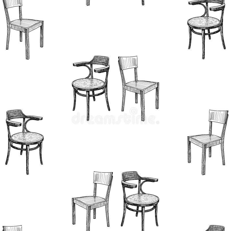 Teste padrão sem emenda dos esboços de cadeiras velhas ilustração royalty free