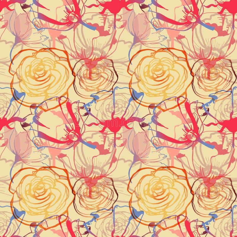 Teste padrão sem emenda dos esboços florais ilustração royalty free