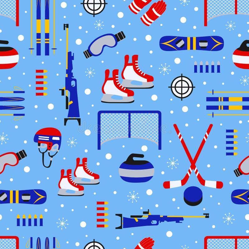 Teste padrão sem emenda dos esportes de inverno Fundo sazonal do ar livre Projeto do vetor do equipamento ostentando Repetição cr ilustração stock