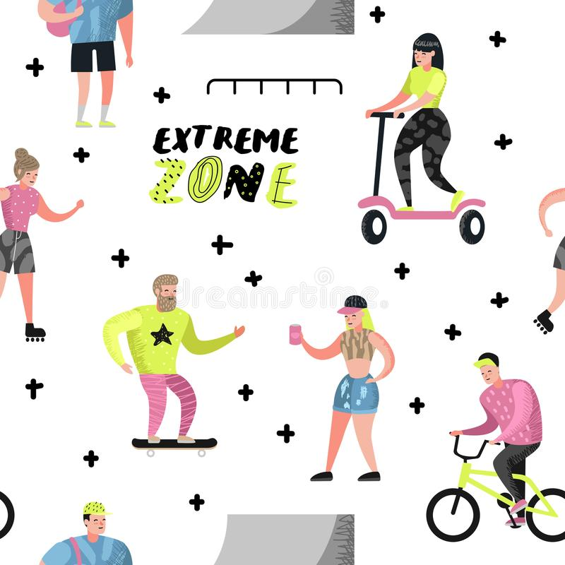 Teste padrão sem emenda dos esportes extremos com desenhos animados Skateboarding do adolescente, homem na bicicleta, rolamento d ilustração stock