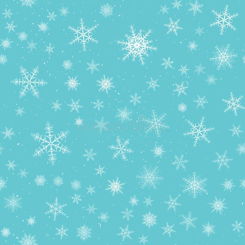 Teste padrão sem emenda dos flocos de neve As estrelas do floco da neve do inverno, caindo lascam-se neves e queda de neve nevada ilustração royalty free