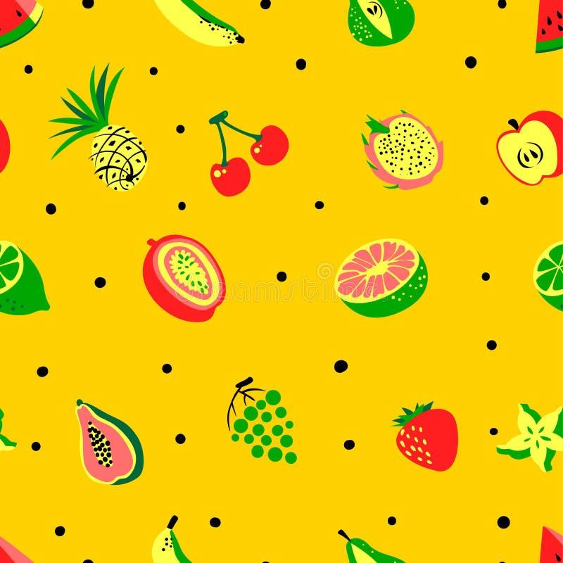 Teste padrão sem emenda dos frutos exóticos tropicais Frui orgânico fresco bonito ilustração do vetor