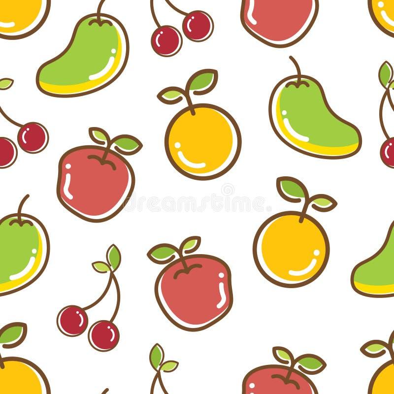 Teste padrão sem emenda dos frutos, manga animador alaranjada da maçã fotografia de stock royalty free