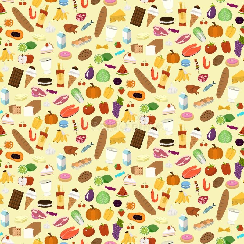 Teste padrão sem emenda dos gêneros alimentícios ilustração do vetor
