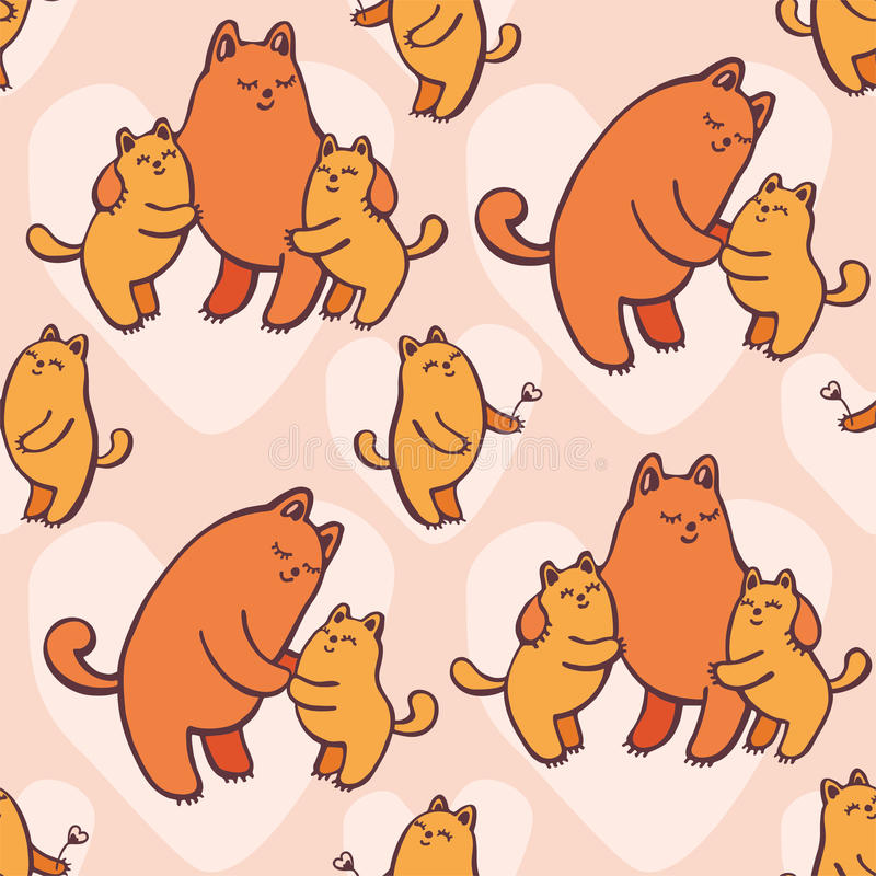 Teste padrão sem emenda dos gatos ilustração stock