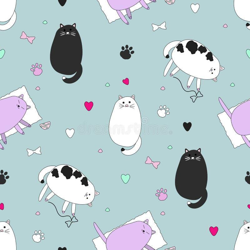 Teste padrão sem emenda dos gatos ilustração royalty free