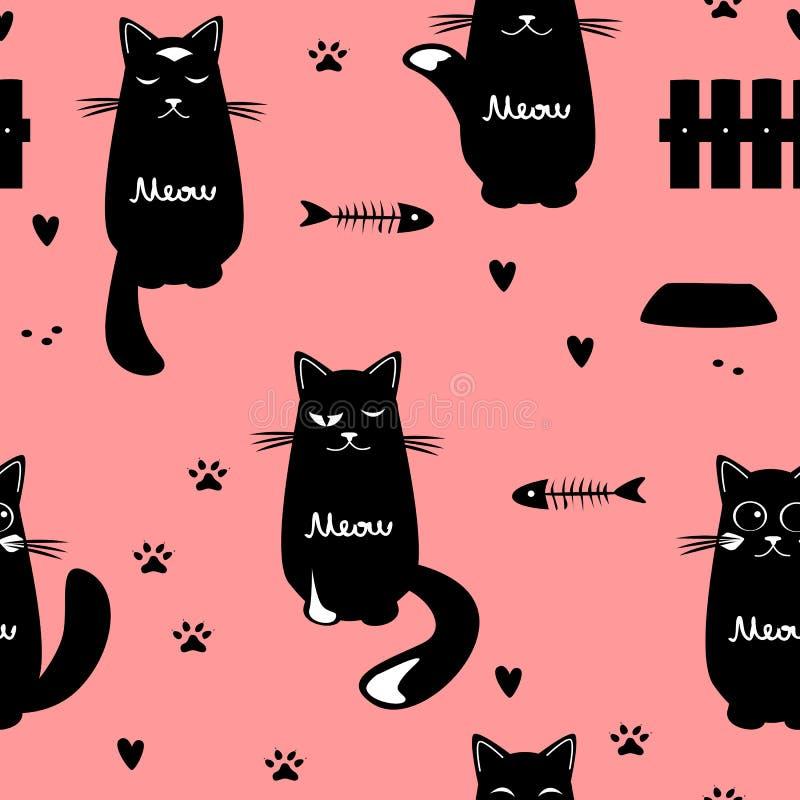 Teste padrão sem emenda dos gatos bonitos ilustração stock
