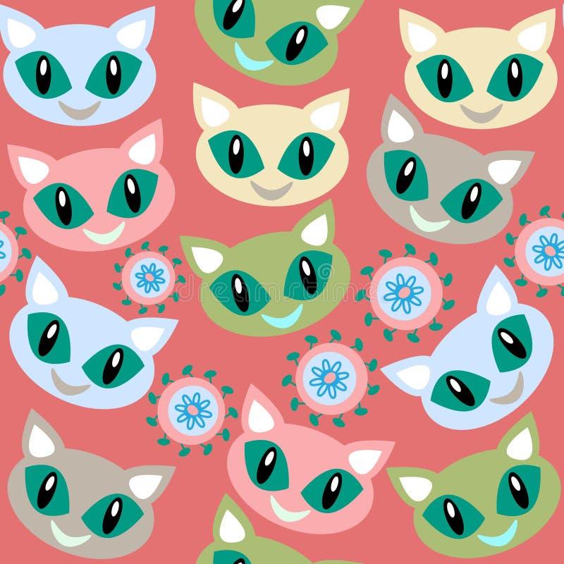 Teste padrão sem emenda dos gatos e teste padrão sem emenda no menu da amostra de folha, imagem ilustração stock