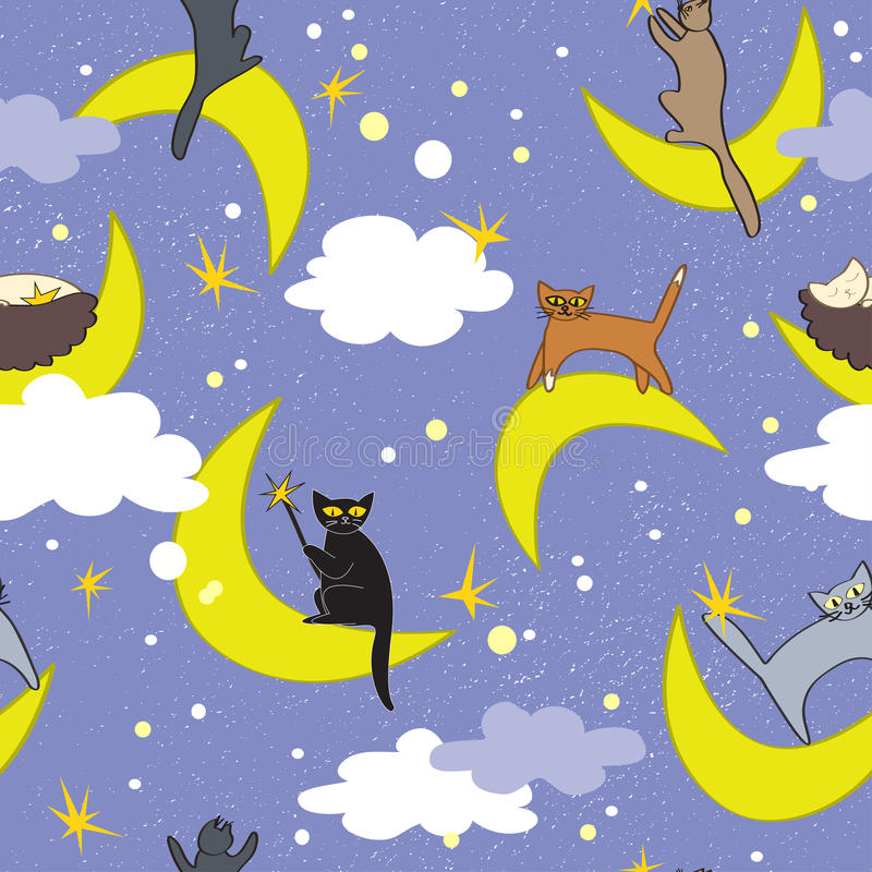 Teste padrão sem emenda dos gatos Gatos que sentam-se em luas em poses diferentes Fundo feericamente ilustração stock