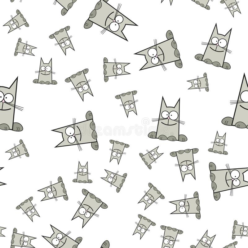 Teste padrão sem emenda dos gatos no estilo dos desenhos animados ilustração do vetor