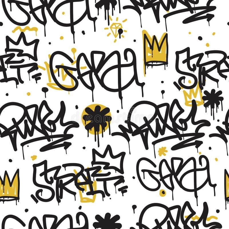 Teste padrão sem emenda dos grafittis ilustração stock
