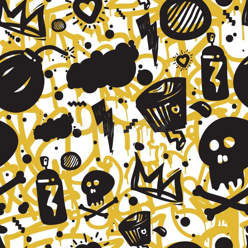 Teste padrão sem emenda dos grafittis ilustração royalty free