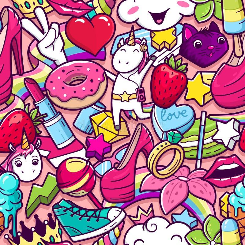 Teste padrão sem emenda dos grafittis com garatujas de menina ilustração royalty free