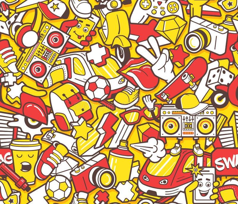 Teste padrão sem emenda dos grafittis com linha colagem dos ícones ilustração do vetor