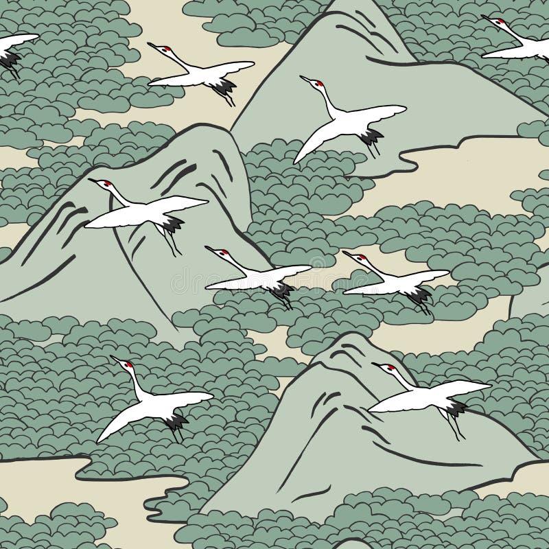 Teste padrão sem emenda dos guindastes sobre montanhas ilustração stock