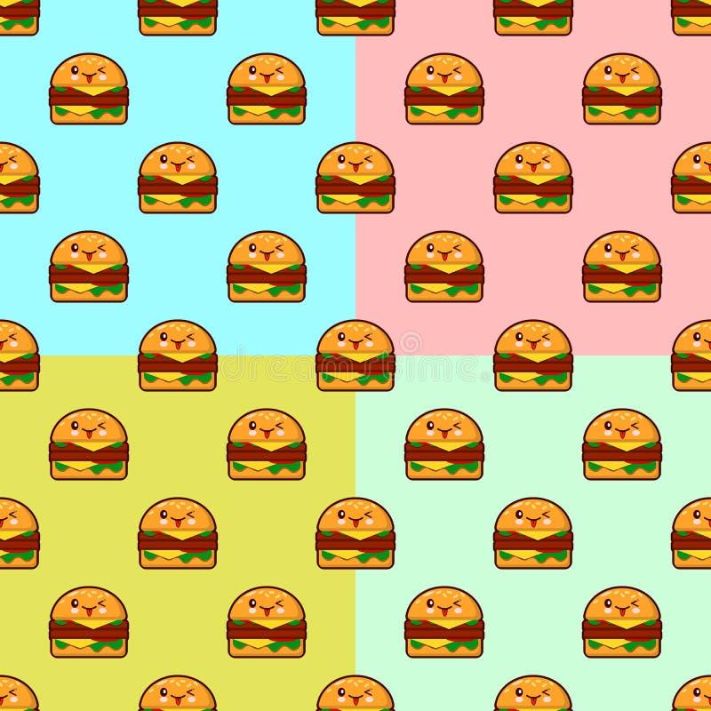 Teste padrão sem emenda dos hamburgueres bonitos dos desenhos animados no fundo da cor Ilustração lisa do projeto ilustração royalty free