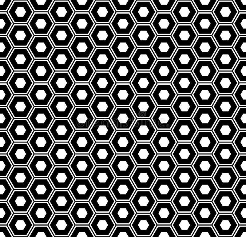 Teste padrão sem emenda dos hexágonos Textura e fundo geométricos preto e branco ilustração stock