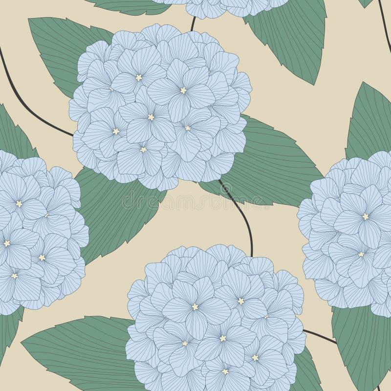Teste padrão sem emenda dos Hydrangeas ilustração stock