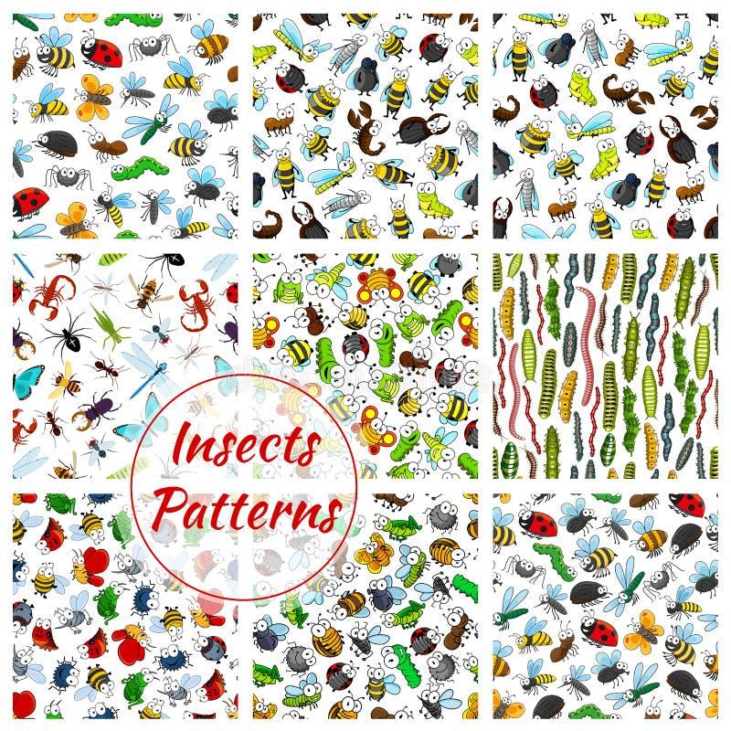 Teste padrão sem emenda dos insetos e dos erros dos desenhos animados ilustração do vetor