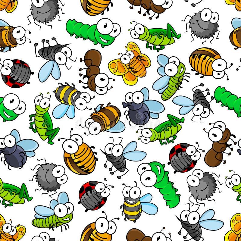 Teste padrão sem emenda dos insetos engraçados dos desenhos animados ilustração royalty free