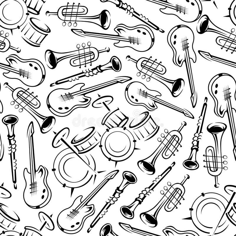 Teste padrão sem emenda dos instrumentos musicais do jazz ilustração royalty free