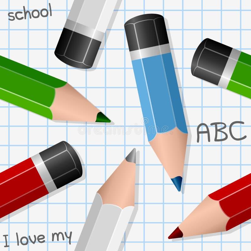Teste padrão sem emenda dos lápis coloridos ilustração do vetor