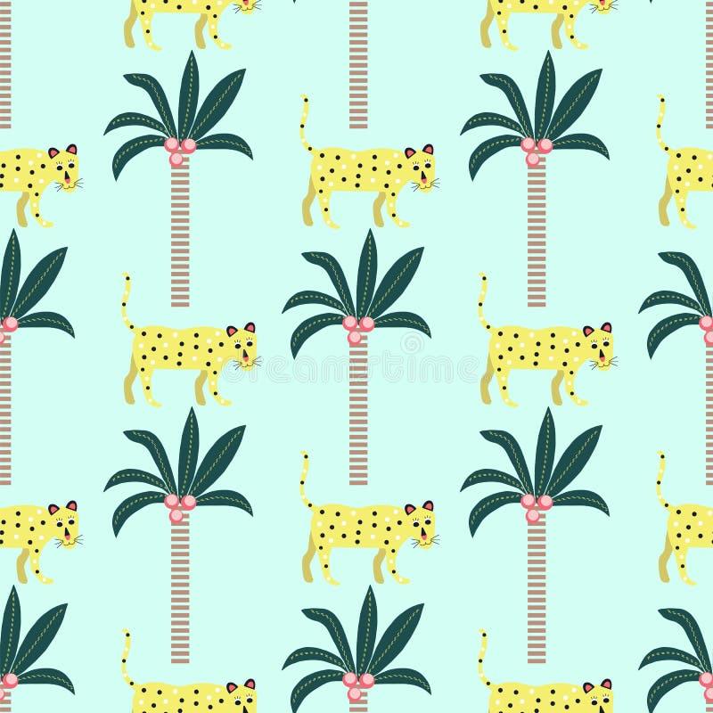 Teste padrão sem emenda dos leopardos e das palmeiras em um fundo azul ilustração royalty free