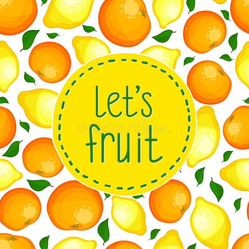 Teste padrão sem emenda dos limões e das laranjas. ilustração do vetor
