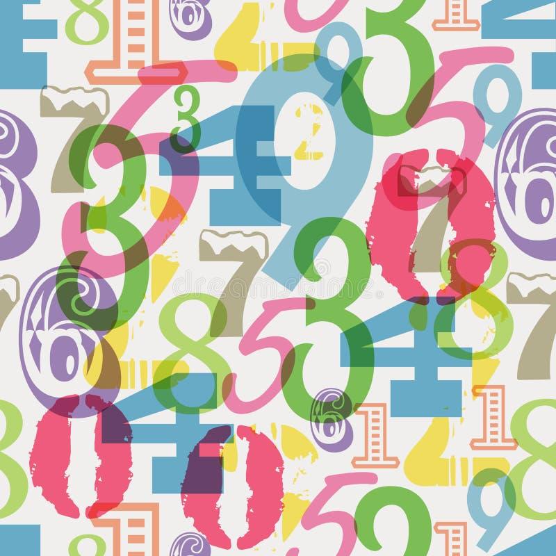 Teste padrão sem emenda dos números, ilustração do vetor