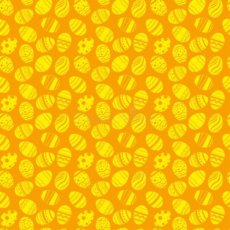 Teste padrão sem emenda dos ornamento dos ovos da páscoa Fundo alaranjado e amarelo do feriado da Páscoa para imprimir na tela, p ilustração royalty free