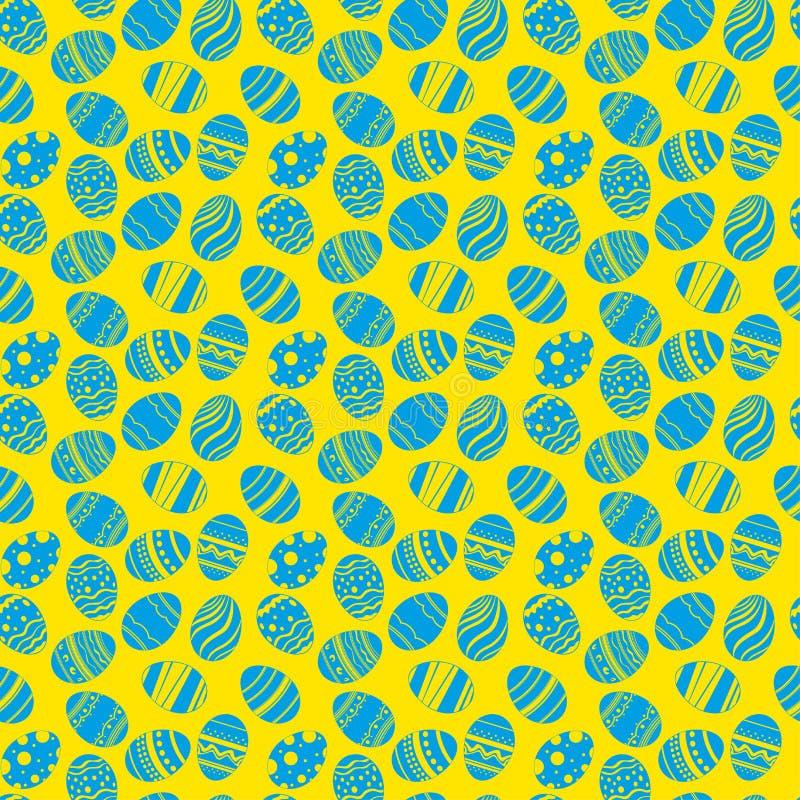 Teste padrão sem emenda dos ornamento dos ovos da páscoa Fundo azul e amarelo do feriado da Páscoa para imprimir na tela, papel p ilustração stock