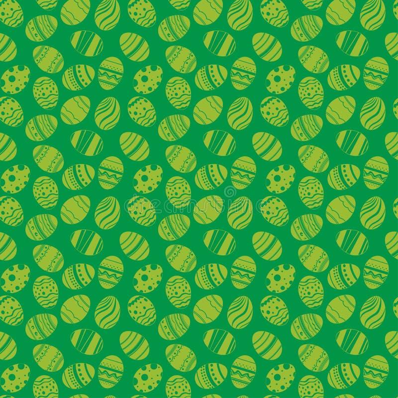 Teste padrão sem emenda dos ornamento dos ovos da páscoa Fundo do verde do feriado da Páscoa para imprimir na tela, papel para sc ilustração stock