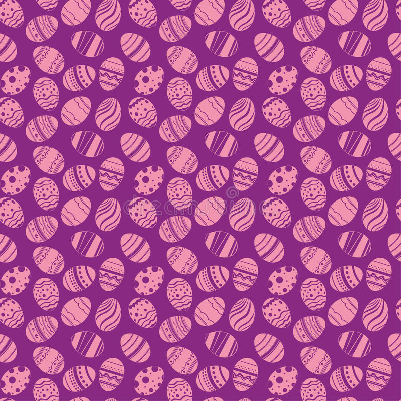 Teste padrão sem emenda dos ornamento dos ovos da páscoa Fundo violeta do feriado da Páscoa para imprimir na tela, papel para scr ilustração stock