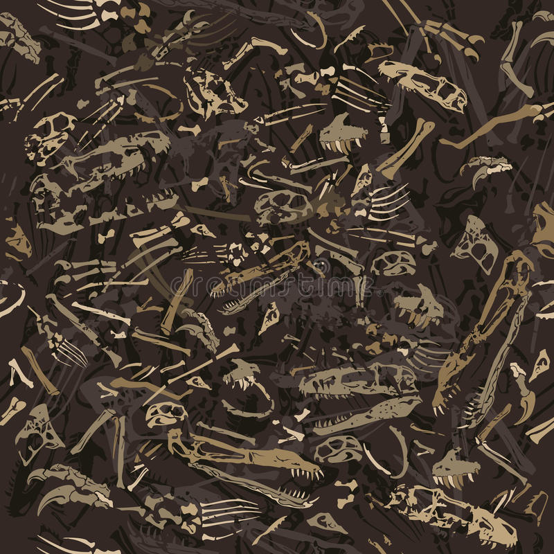 Teste padrão sem emenda dos ossos de dinossauro ilustração do vetor