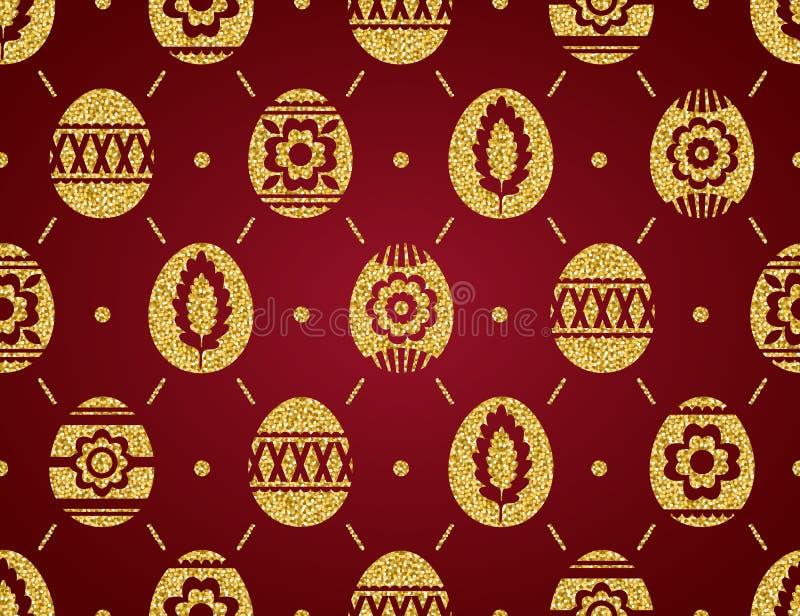 Teste padrão sem emenda dos ovos da páscoa dourados isolados no fundo vermelho Ovos da páscoa do ouro decorados com flores Imprim ilustração stock
