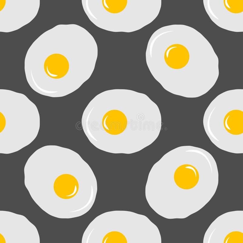 Teste padrão sem emenda dos ovos fritos no fundo cinzento ilustração do vetor