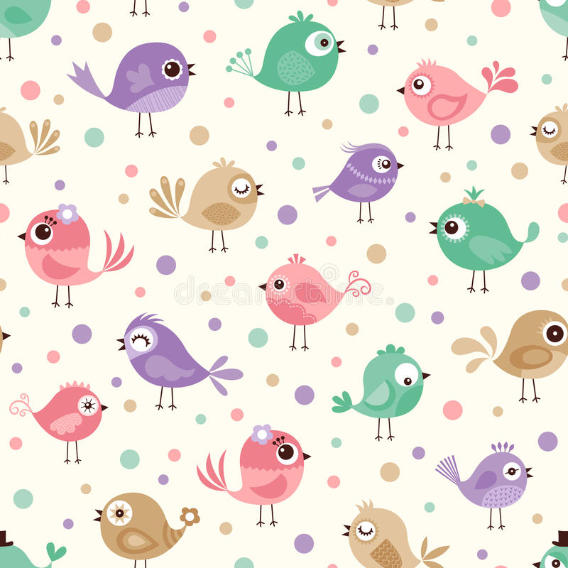 Teste padrão sem emenda dos pássaros ilustração do vetor