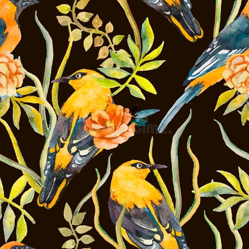 Teste padrão sem emenda dos pássaros e das plantas Vetor Folhas ilustração stock