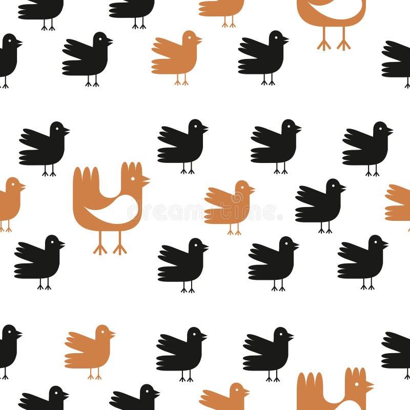 Teste padrão sem emenda dos pássaros engraçados dos desenhos animados sobre o fundo branco Ilustração da galinha e da galinha do  ilustração stock