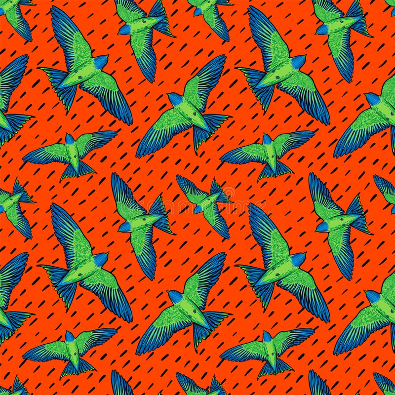 Teste padrão sem emenda dos pássaros vívidos Textura colorida com os papagaios verdes no fundo alaranjado Fundo dos pássaros trop ilustração do vetor