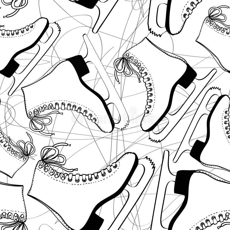 Teste padrão sem emenda dos patins ilustração stock