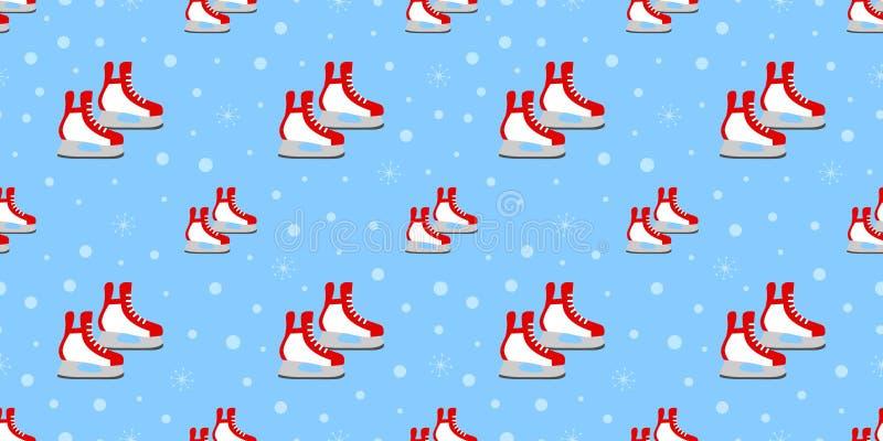 Teste padrão sem emenda dos patins vermelhos Ilustração do vetor dos esportes de inverno Fundo da patinagem no gelo Textura fora  ilustração royalty free