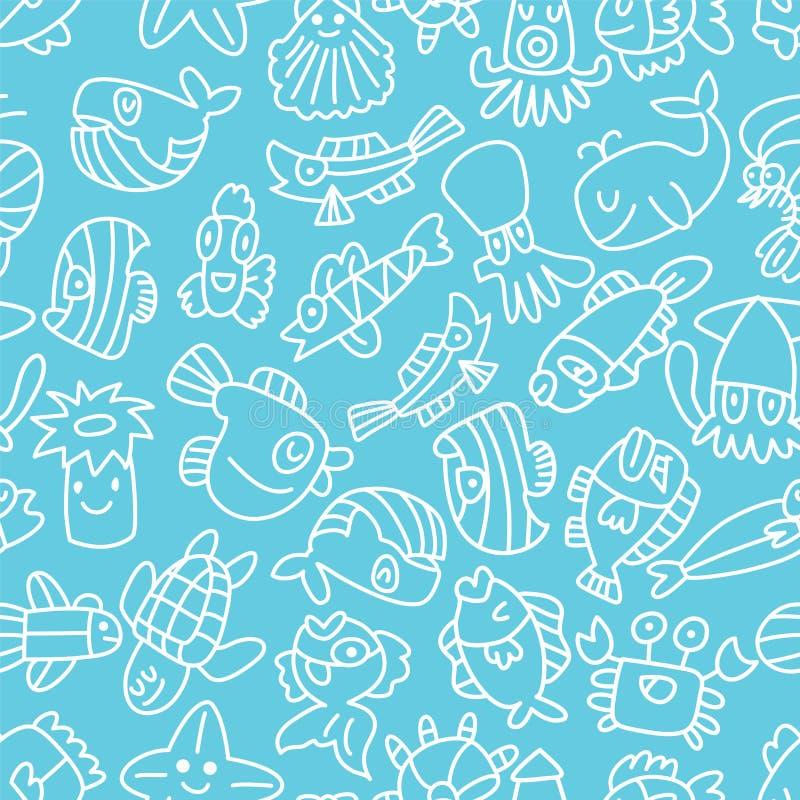 Teste padrão sem emenda dos peixes da tração da mão dos desenhos animados ilustração royalty free